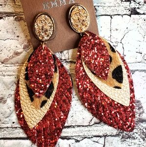 Red goldtone faix druzy layer leopard earrings